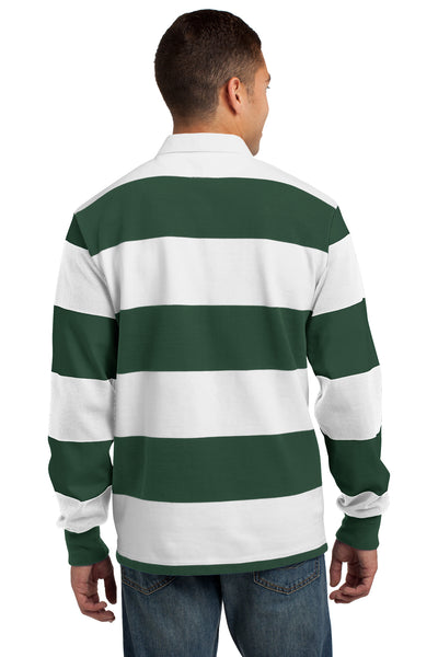 Sport-Tek ST301 Mens Classic Rugby Long Sleeve Polo Shirt Forest Green/White Back