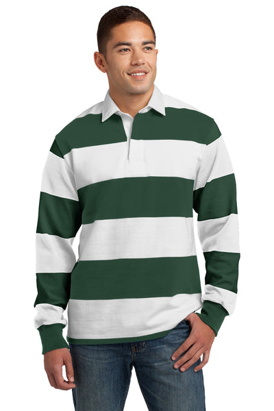 Sport-Tek ST301 Mens Classic Rugby Long Sleeve Polo Shirt Forest Green/White Front