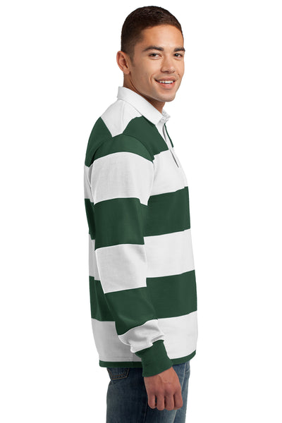 Sport-Tek ST301 Mens Classic Rugby Long Sleeve Polo Shirt Forest Green/White Side