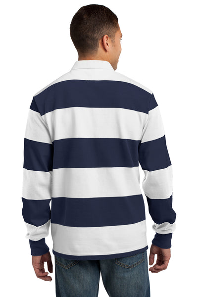 Sport-Tek ST301 Mens Classic Rugby Long Sleeve Polo Shirt Navy Blue/White Back