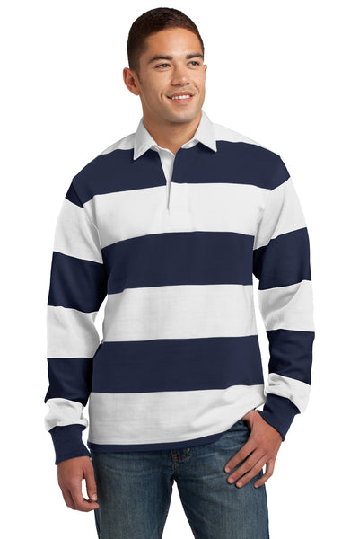 Sport-Tek ST301 Mens Classic Rugby Long Sleeve Polo Shirt Navy Blue/White Front
