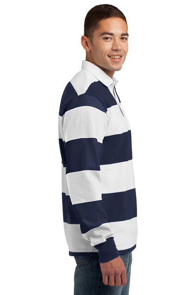 Sport-Tek ST301 Mens Classic Rugby Long Sleeve Polo Shirt Navy Blue/White Side