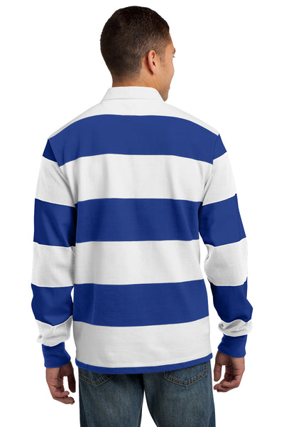 Sport-Tek ST301 Mens Classic Rugby Long Sleeve Polo Shirt Royal Blue/White Back