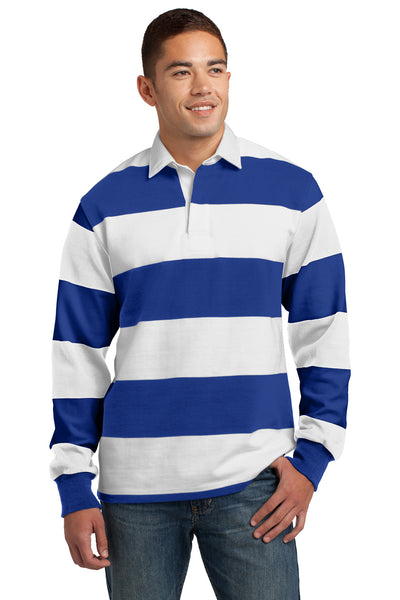Sport-Tek ST301 Mens Classic Rugby Long Sleeve Polo Shirt Royal Blue/White Front