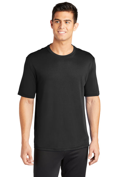 Sport-Tek ST350 Mens Competitor Moisture Wicking Short Sleeve Crewneck T-Shirt Black Front