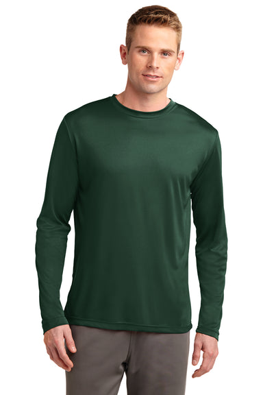 Sport-Tek ST350LS Mens Competitor Moisture Wicking Long Sleeve Crewneck T-Shirt Forest Green Front