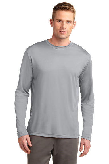 Sport-Tek ST350LS Mens Competitor Moisture Wicking Long Sleeve Crewneck T-Shirt Silver Grey Front