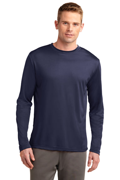 Sport-Tek ST350LS Mens Competitor Moisture Wicking Long Sleeve Crewneck T-Shirt Navy Blue Front
