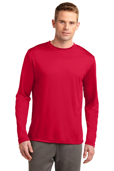 Sport-Tek ST350LS Mens Competitor Moisture Wicking Long Sleeve Crewneck T-Shirt Red Front