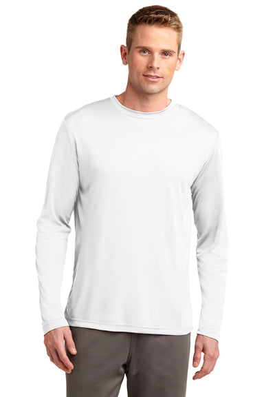 Sport-Tek ST350LS Mens Competitor Moisture Wicking Long Sleeve Crewneck T-Shirt White Front