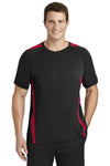 Sport-Tek ST351 Mens Competitor Moisture Wicking Short Sleeve Crewneck T-Shirt Black/Red Front