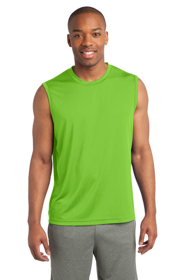 Sport-Tek ST352 Mens Competitor Moisture Wicking Tank Top Lime Green Front
