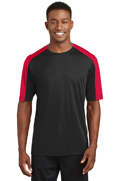 Sport-Tek ST354 Mens Competitor Moisture Wicking Short Sleeve Crewneck T-Shirt Black/Red Front