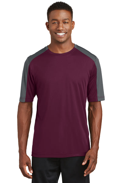 Sport-Tek ST354 Mens Competitor Moisture Wicking Short Sleeve Crewneck T-Shirt Maroon/Grey Front