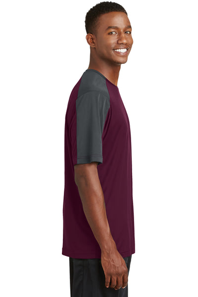 Sport-Tek ST354 Mens Competitor Moisture Wicking Short Sleeve Crewneck T-Shirt Maroon/Grey Side