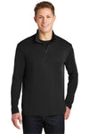 Sport-Tek ST357 Mens Competitor Moisture Wicking 1/4 Zip Sweatshirt Black Front