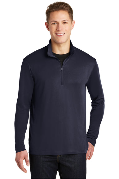 Sport-Tek ST357 Mens Competitor Moisture Wicking 1/4 Zip Sweatshirt Navy Blue Front