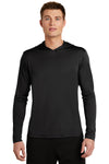 Sport-Tek ST358 Mens Competitor Moisture Wicking Long Sleeve Hooded T-Shirt Hoodie Black Front