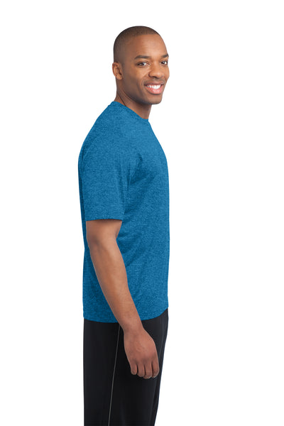 Sport-Tek ST360 Mens Contender Heather Moisture Wicking Short Sleeve Crewneck T-Shirt Blue Wake Side