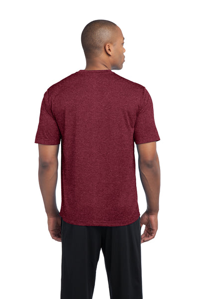 Sport-Tek ST360 Mens Contender Heather Moisture Wicking Short Sleeve Crewneck T-Shirt Cardinal Red Back