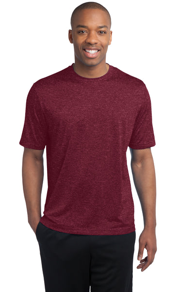 Sport-Tek ST360 Mens Contender Heather Moisture Wicking Short Sleeve Crewneck T-Shirt Cardinal Red Front