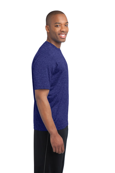 Sport-Tek ST360 Mens Contender Heather Moisture Wicking Short Sleeve Crewneck T-Shirt Cobalt Blue Side