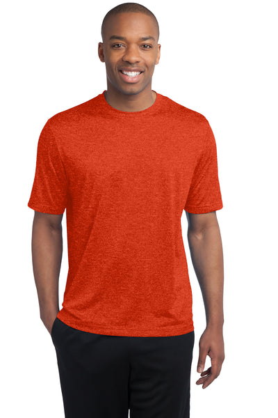 Sport-Tek ST360 Mens Contender Heather Moisture Wicking Short Sleeve Crewneck T-Shirt Orange Front