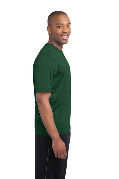 Sport-Tek ST360 Mens Contender Heather Moisture Wicking Short Sleeve Crewneck T-Shirt Forest Green Side