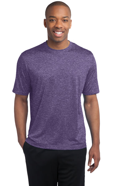 Sport-Tek ST360 Mens Contender Heather Moisture Wicking Short Sleeve Crewneck T-Shirt Purple Front
