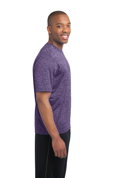 Sport-Tek ST360 Mens Contender Heather Moisture Wicking Short Sleeve Crewneck T-Shirt Purple Side