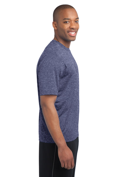 Sport-Tek ST360 Mens Contender Heather Moisture Wicking Short Sleeve Crewneck T-Shirt Navy Blue Side