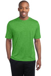 Sport-Tek ST360 Mens Contender Heather Moisture Wicking Short Sleeve Crewneck T-Shirt Turf Green Front