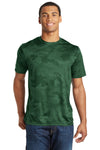Sport-Tek ST370 Mens CamoHex Moisture Wicking Short Sleeve Crewneck T-Shirt Forest Green Front