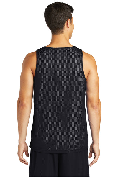 Sport-Tek ST500 Mens Reversible Mesh Moisture Wicking Tank Top Black Back
