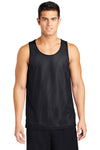 Sport-Tek ST500 Mens Reversible Mesh Moisture Wicking Tank Top Black Front