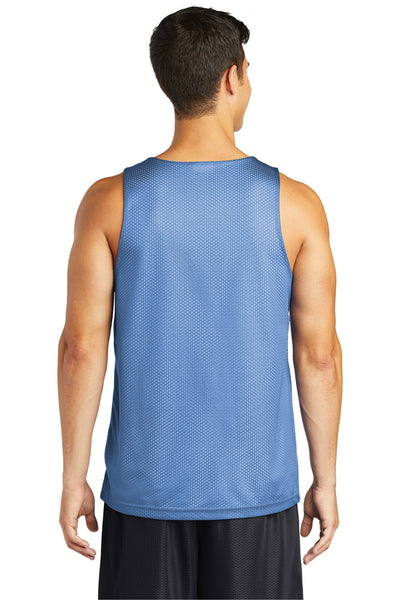 Sport-Tek ST500 Mens Reversible Mesh Moisture Wicking Tank Top Carolina Blue Back