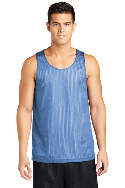 Sport-Tek ST500 Mens Reversible Mesh Moisture Wicking Tank Top Carolina Blue Front
