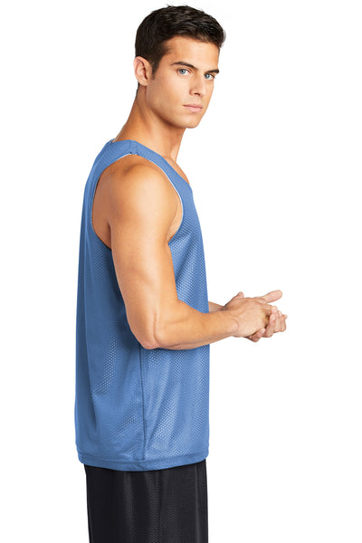 Sport-Tek ST500 Mens Reversible Mesh Moisture Wicking Tank Top Carolina Blue Side
