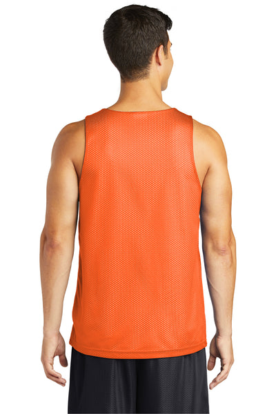 Sport-Tek ST500 Mens Reversible Mesh Moisture Wicking Tank Top Orange Back