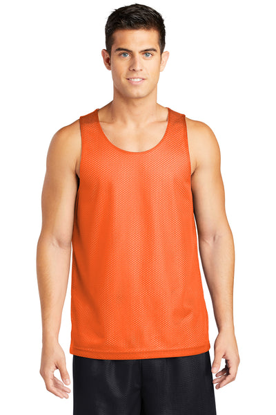 Sport-Tek ST500 Mens Reversible Mesh Moisture Wicking Tank Top Orange Front