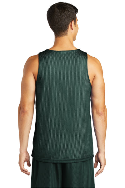 Sport-Tek ST500 Mens Reversible Mesh Moisture Wicking Tank Top Forest Green Back