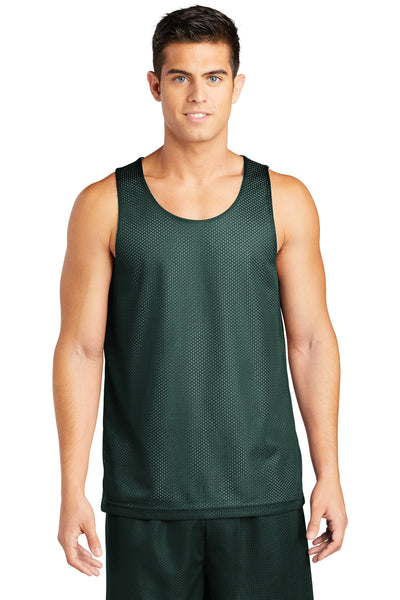 Sport-Tek ST500 Mens Reversible Mesh Moisture Wicking Tank Top Forest Green Front