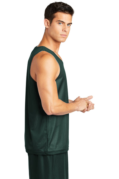 Sport-Tek ST500 Mens Reversible Mesh Moisture Wicking Tank Top Forest Green Side