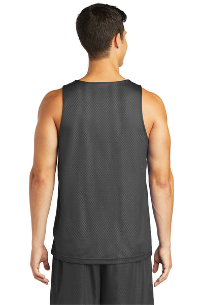 Sport-Tek ST500 Mens Reversible Mesh Moisture Wicking Tank Top Iron Grey Back