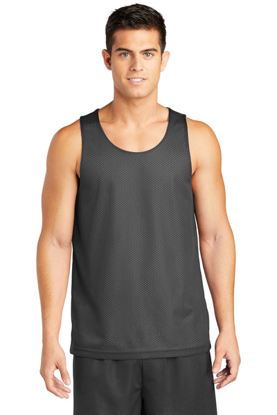 Sport-Tek ST500 Mens Reversible Mesh Moisture Wicking Tank Top Iron Grey Front