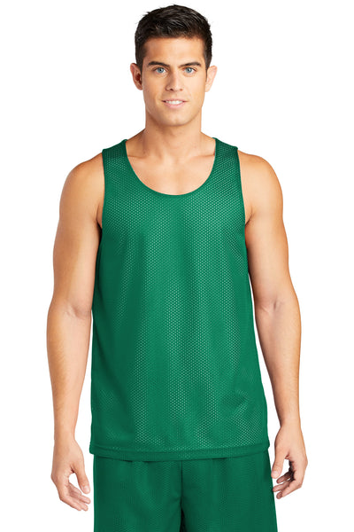 Sport-Tek ST500 Mens Reversible Mesh Moisture Wicking Tank Top Kelly Green Front