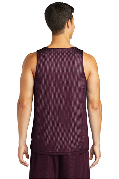 Sport-Tek ST500 Mens Reversible Mesh Moisture Wicking Tank Top Maroon Back