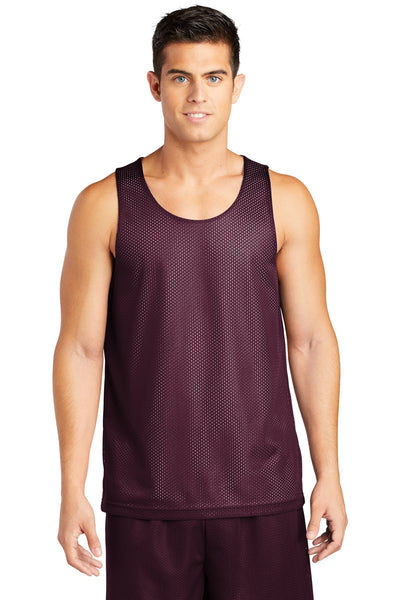 Sport-Tek ST500 Mens Reversible Mesh Moisture Wicking Tank Top Maroon Front