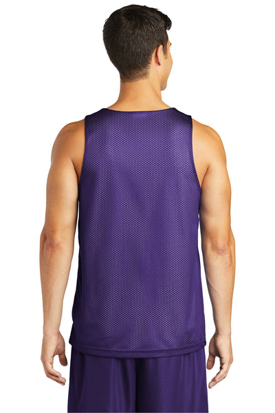 Sport-Tek ST500 Mens Reversible Mesh Moisture Wicking Tank Top Purple Back