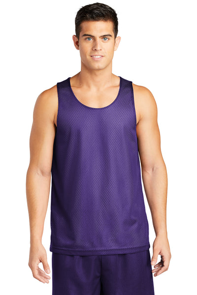 Sport-Tek ST500 Mens Reversible Mesh Moisture Wicking Tank Top Purple Front